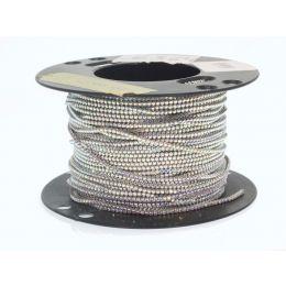 Swarovski Crystals Tennis Chain, Rhodium plating, Crystal AB - 5Meters roll