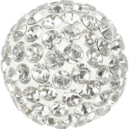 Swarovski Article 86301 Pave Ball Half Hole, Front view, Swarovski Crystal Color: Crystal  (001) , Base color:White (01)