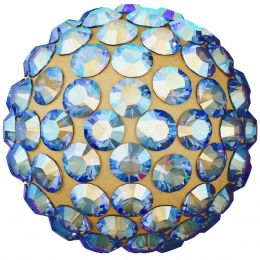 Swarovski Article 86001 Pavé Ball, Front view, Swarovski Crystal Color: Light Colorado Topaz  (246) SHIMMER , Base color:Antique Gold (35)
