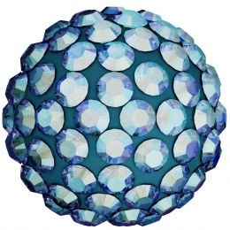 Swarovski Article 86001 Pavé Ball, Front view, Swarovski Crystal Color: Light Smoked Topaz  (221) SHIMMER , Base color:Cadetblue (43)