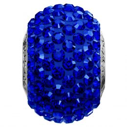 Swarovski Article 180101 BeCharmed Pavé Bead, Front view, Swarovski Crystal Color: Majestic Blue F (296) , Base color:Dark Blue (15)