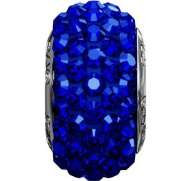 Swarovski Article 181101 BeCharmed Pavé Bead, Front view, Swarovski Crystal Color: Majestic Blue F (296) , Base color:Dark Blue (15)