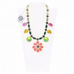 Fancy stones summer necklace - with Swarovski crystals tag