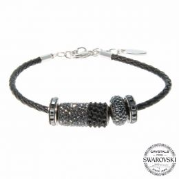 BeCharmed Black Diamond Leather Bracelet with Swarovski Crystals
