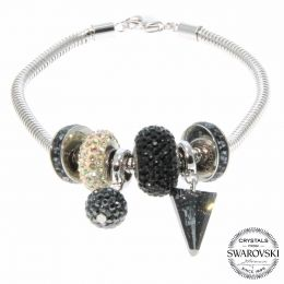 BeCharmed Jet Spike Bracelet with Swarovski Crystals