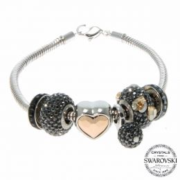 BeCharmed Jet LOVE Bracelet with Swarovski Crystals