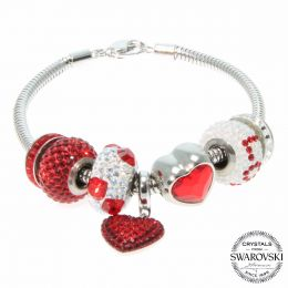BeCharmed Siam LOVE Bracelet with Swarovski Crystals