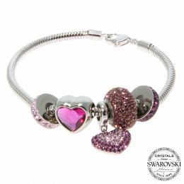 BeCharmed Purple LOVE Bracelet with Swarovski Crystals