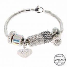 BeCharmed Silver LOVE Bracelet with Swarovski Crystals