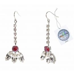 Navette fancy earrings with Swarovski crystals tag - 1 pair