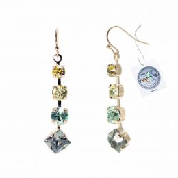 Fancy stones earrings with Swarovski crystals tag - 1 pair