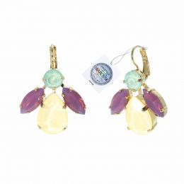 Drop & navette earrings with Swarovski crystals tag - 1 pair
