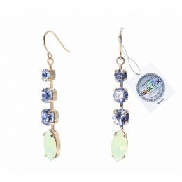 Navette earrings with Swarovski crystals tag - 1 pair