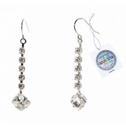 Square stone drop earrings with Swarovski crystals tag - 1 pair