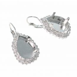 18X13 Pear Earrings with Swarovski Crystals Tennis Chain - Pack of 5 pairs