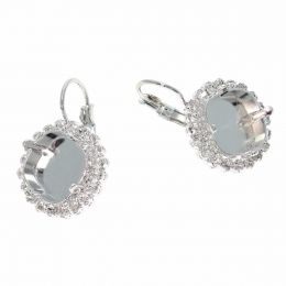 12mm Round Square Earrings with Swarovski Crystals Tennis Chain - Pack of 5 pairs