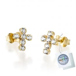Tennis cross earring with Swarovski crystals