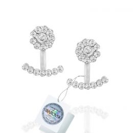 Flower jacket earrings with Swarovski crystals