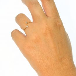 Adjustable Extra thin beaded look open Rings, with two Swarovski Crystals - Pack of 10