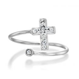 Cross ring with Swarovski crystals