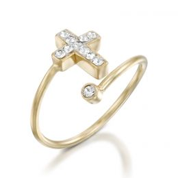 Cross ring with Swarovski crystals