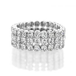 3 row tennis ring with Swarovski crystals - Size 54