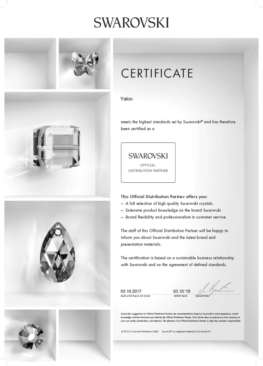 swarovski official distribution partner certificate
